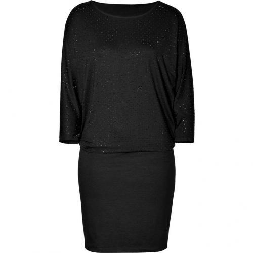 DKNY Black Embellished Top Jersey Kleid