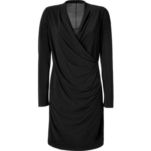 DKNY Black V-Neck Side Gathered Kleid