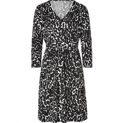 DKNY Black/White Jersey Kleid with Sash