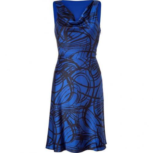 DKNY Blue/Black Printed Sleeveless Cowl Neck Kleid