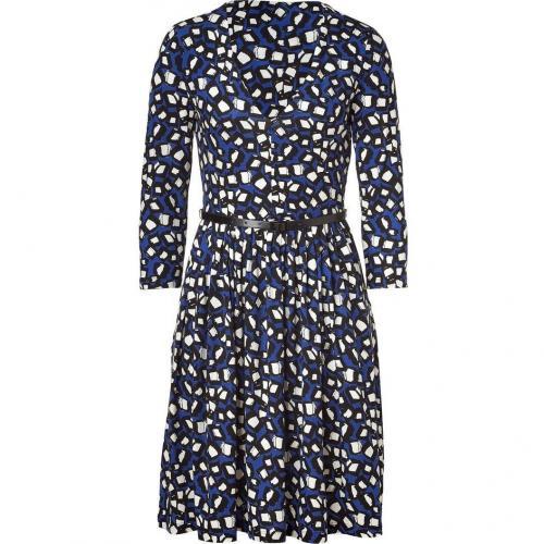 DKNY Royal Blue Belted Swing Kleid