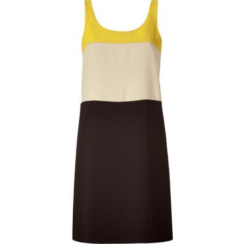 DKNY Yellow&White&Black Colorblock Sheath Kleid