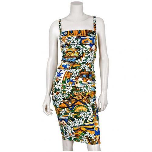 Dolce&Gabbana Seidenkleid Orangenes Muster