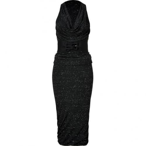 Donna Karan Black Belted Wool Jersey Kleid