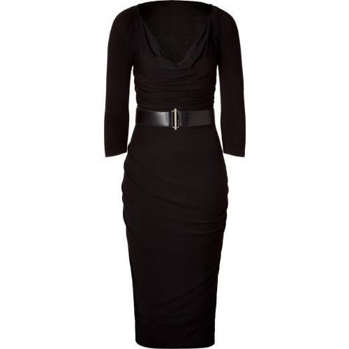 Donna Karan Black Draped Kleid with Belt