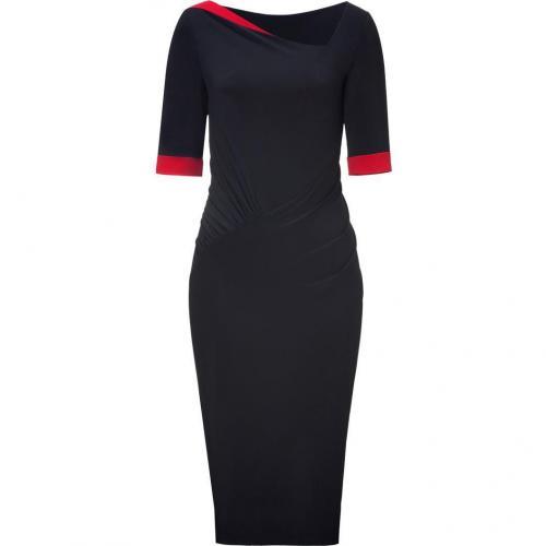 Donna Karan Black/Lipstick Red Bicolor Draped Kleid