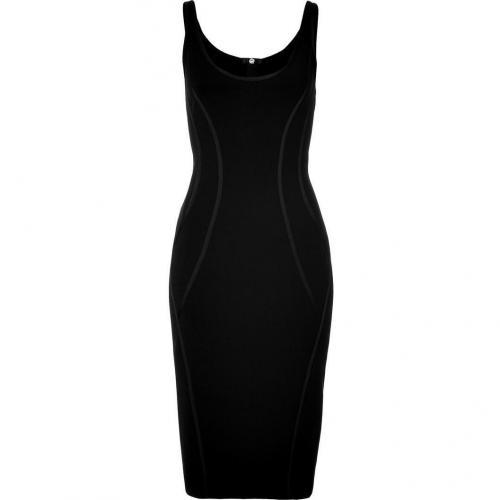 Donna Karan Black Stretch Kleid with Exposed Zipper Back