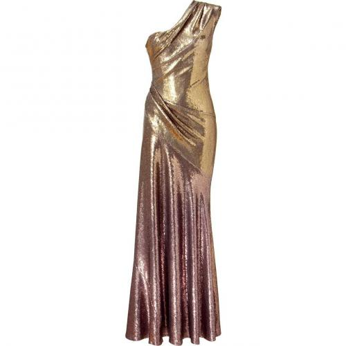Donna Karan Gold All Over Sequined Maxi Kleid