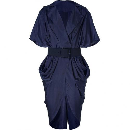 Donna Karan Ink Blue Belted Cocoon Kleid
