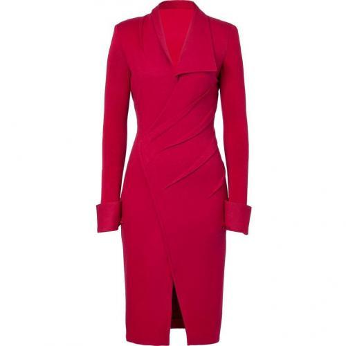 Donna Karan Scarlet Red Draped Stretch Wool Jersey Kleid