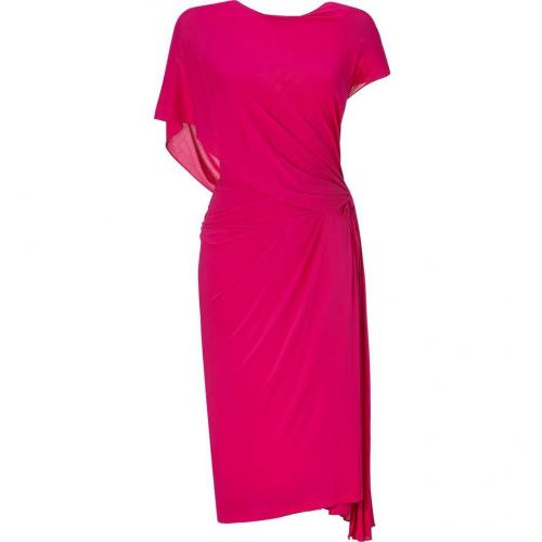 Donna Karan Shocking Pink Ridge Pleated Low Back Kleid