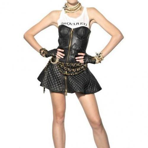 Dsquared Gestepptes Kleid Aus Nappaleder
