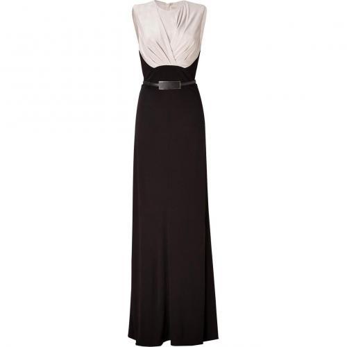 Elie Saab Silver-Beige/Black Belted Silk Jersey Gown