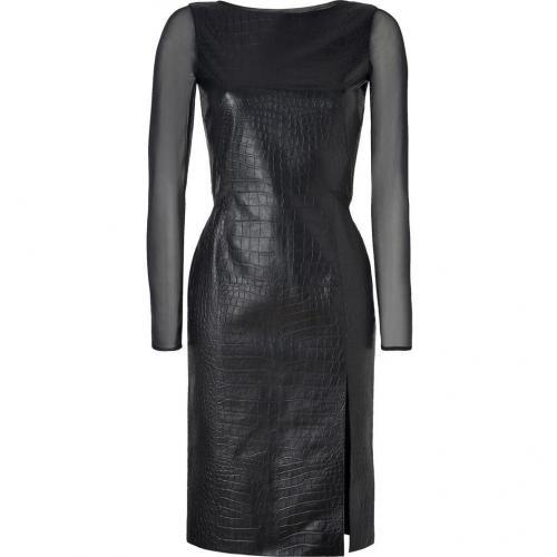 Emilio Pucci Black Croco Embossed Leather/Silk Dress