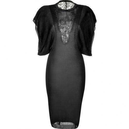 Emilio Pucci Black Silk Knit Dress with Lace Panel