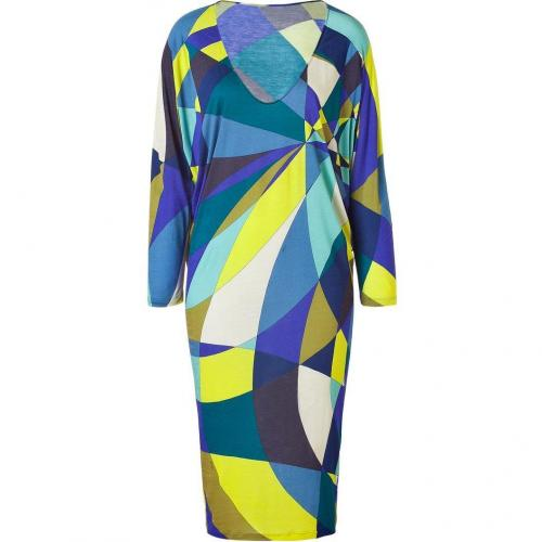 Emilio Pucci Lemon/Blue Geometric Print Jersey Dress