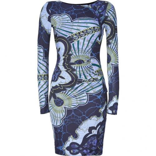 Emilio Pucci Navy/Azure Graphic Print Draped Jersey Dress