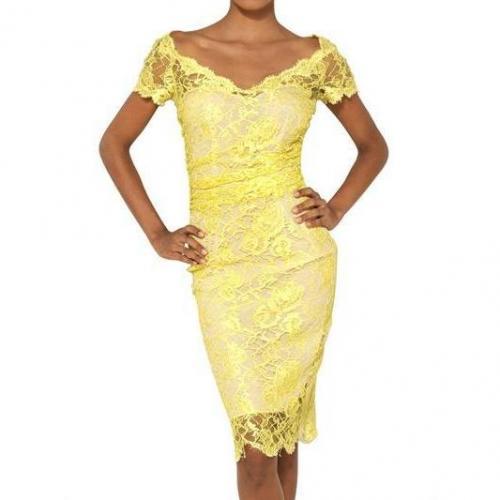Emilio Pucci Viskose-Spitzen-Kleid Gelb | My Designer Kleid