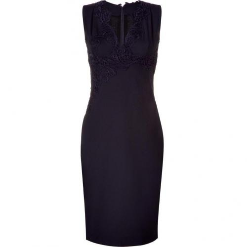 Ermanno Scervino Navy Dress With Lace Embroidery