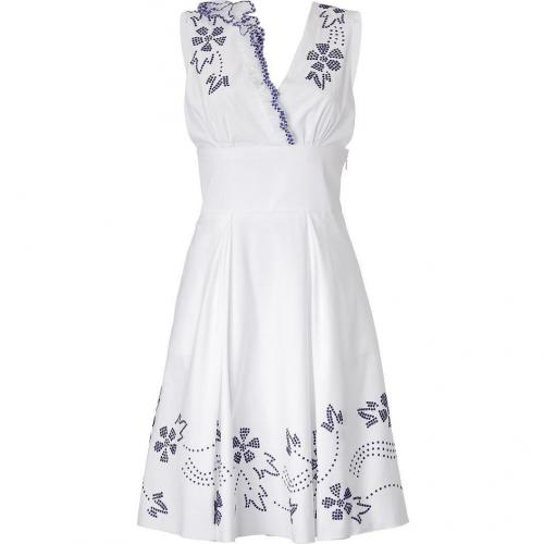 Ermanno Scervino White V-Neck Dress With Blue Embroidery And Ruching