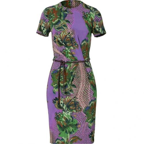 Etro Amethyst/Leaf Green Water Color Belted Kleid
