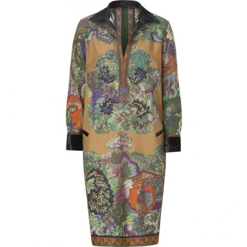 Etro Black/Moss-Multi Wool Kleid