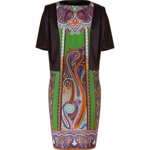 Etro Black/Resedagreen Silk Kleid