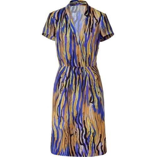 Etro Lemon/Royal Multi Patterned Silk Kleid