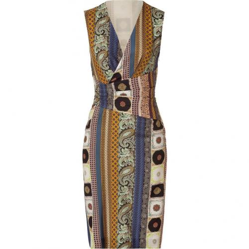 Etro Mustard Multi Color Patterned Silk Kleid