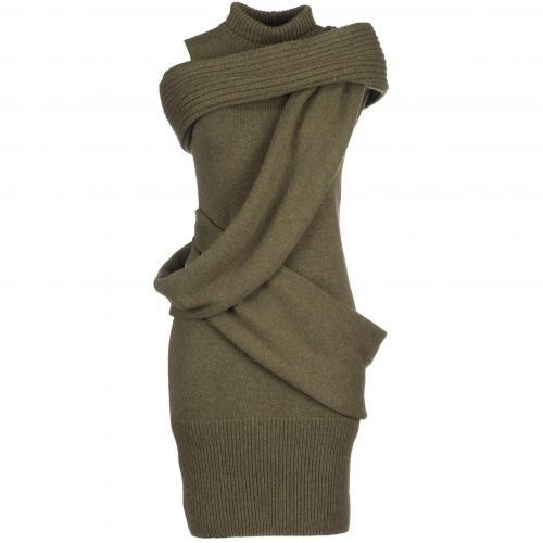 Fendi Knielanges Kleid Militärgrün