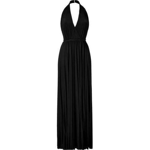 Halston Heritage Black Beaded Backless Kleid