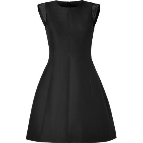 Halston Heritage Black Cotton-Silk Pleated Cap Sleeve Kleid