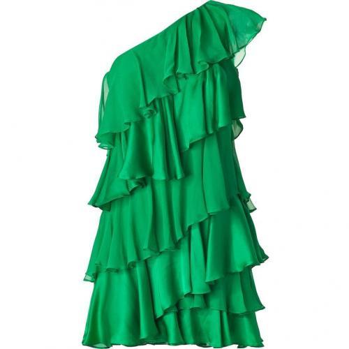 Halston Heritage Grass Green One Shoulder Tiered Silk Kleid