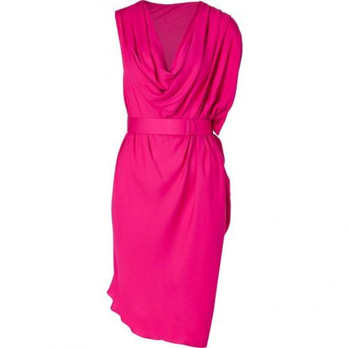Halston Heritage Raspberry One Sleeve Cowl Neck Kleid