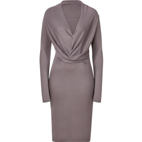 Halston Heritage Sparrow Grey Draped Front Jersey Kleid