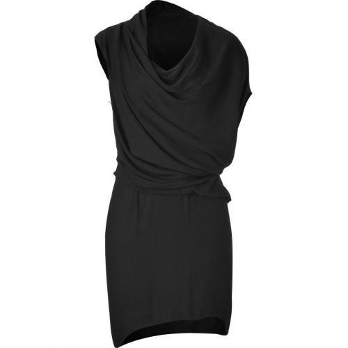 Helmut Lang Black Asymmetrical Draped Dress