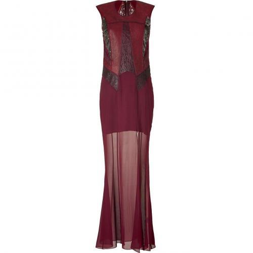 Helmut Lang Bordeaux/Pewter Sequin Embellished Leather/Silk Patchwork Dress