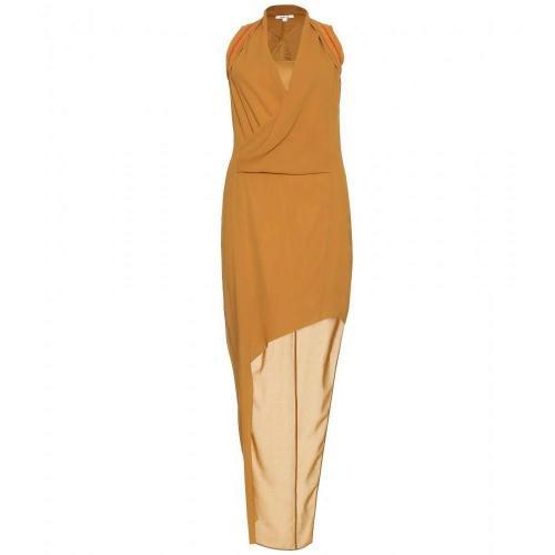 Helmut Lang Drapiertes Kleid Mit Lederbesatz