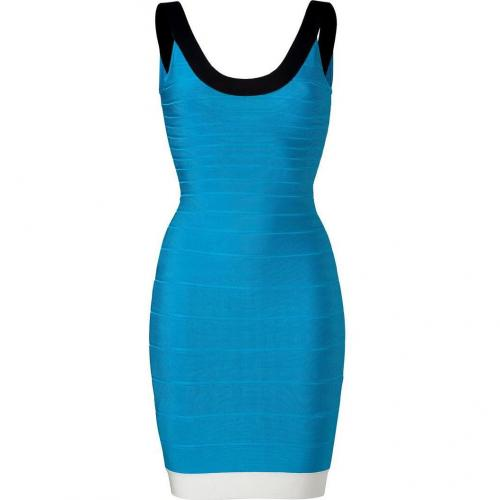 Hervé Léger Atlantic Blue-Multi Scoop Neck Bandage Dress