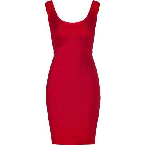 Hervé Léger Lipstick Red Scoop Neck Bandage Dress