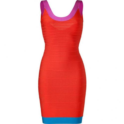 Hervé Léger Mandarin-Multi Scoop Neck Bandage Dress