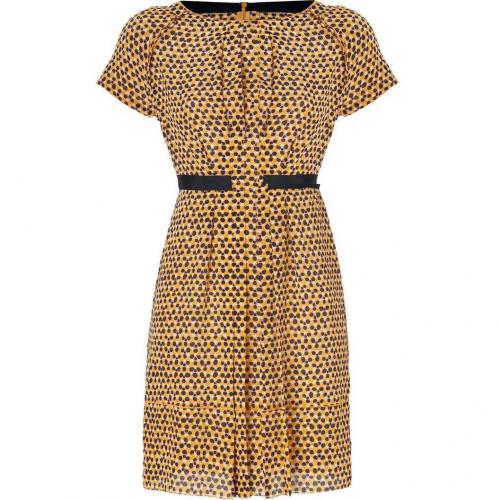 Hoss Intropia Pumpkin Polka Dot Print Silk Dress