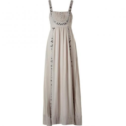 Hoss Intropia Stone Embroidered Maxi Silk Tank Dress