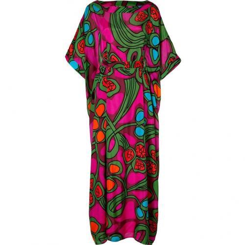 Issa Apple/Fuchsia Fantasy Print Silk Chiffon Kaftan Dress