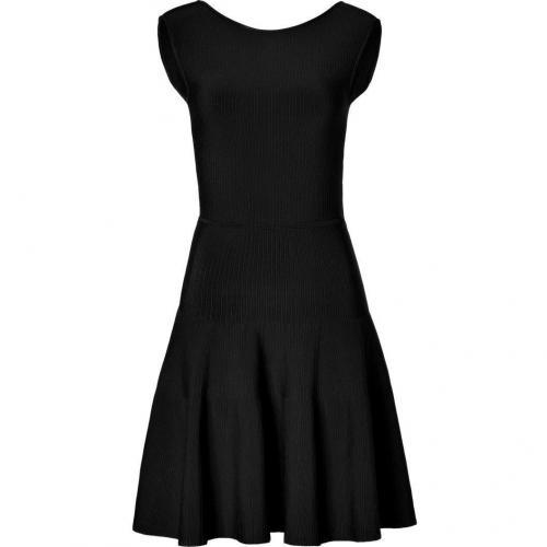 Issa Black Rayon Ribbed Knit Dress