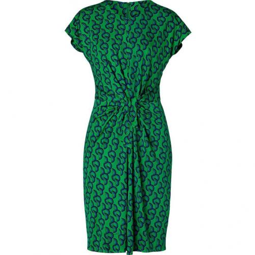 Issa Green/Royal Printed Tie Front Silk Jersey Dress