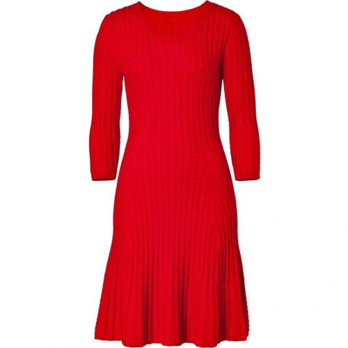 Issa Red Merino Wool Cable Knit Dress