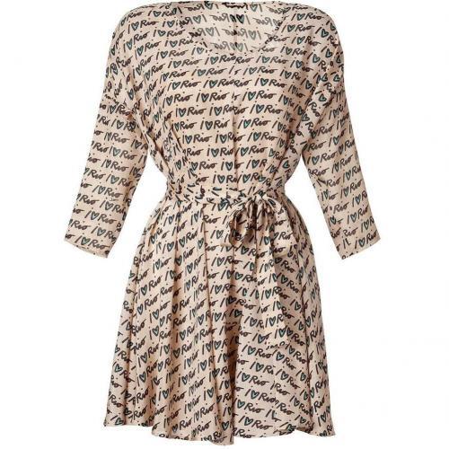 Issa Tan Belted Silk Chiffon Dress