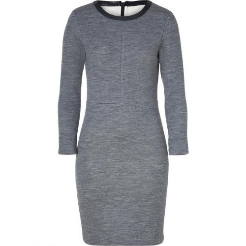 J Brand Heather Grey Sweater Dress with Leather Trim