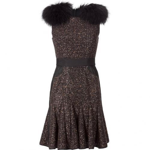 J Mendel Chocolate Sequined Wool Dress
